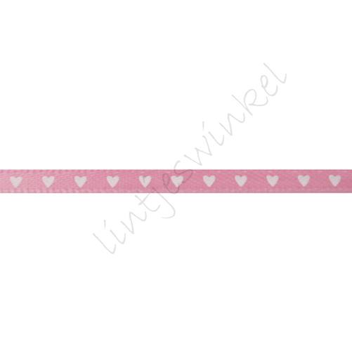 Satinband Herzen 3mm - Rosa Weiß