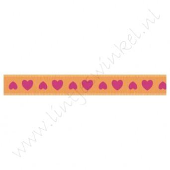Satinband Herzen 10mm - Orange Pink