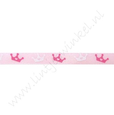 Baby Satinband 6mm - Krone Rosa Pink