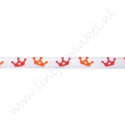 Satinband Hollandia 6mm - Krone Weiß Orange