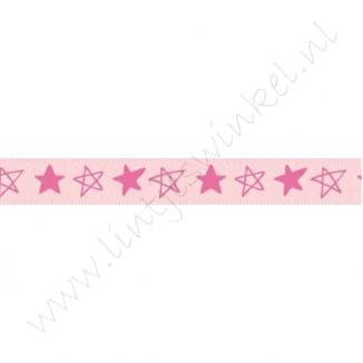 Satinband Sterne 10mm - Rosa Pink