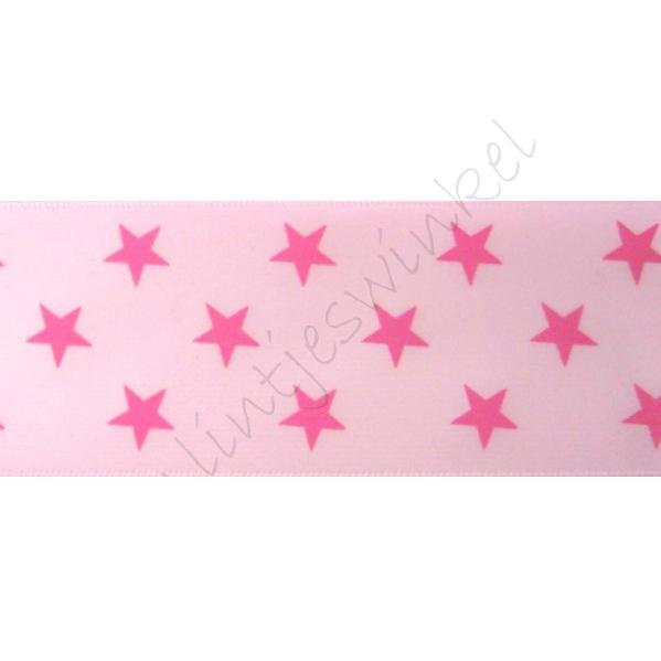 Satinband Sterne 38mm - Rosa Pink