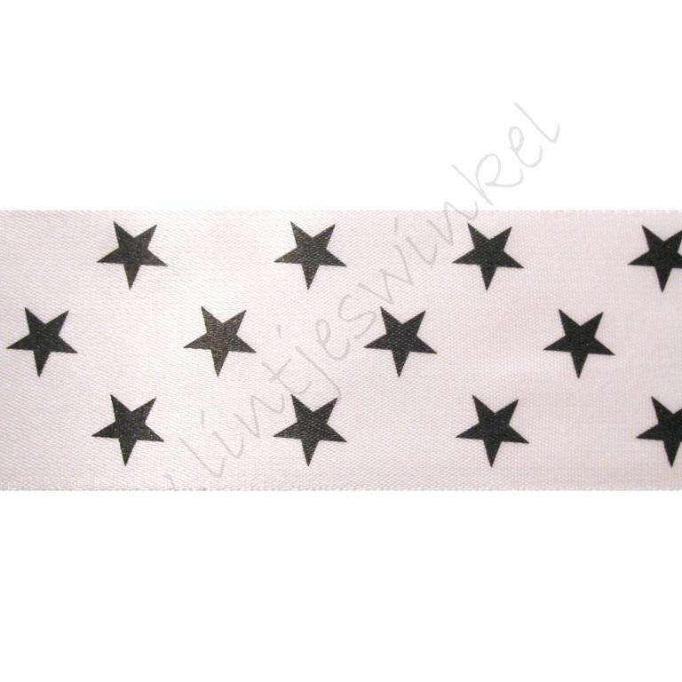 Satinband Sterne 38mm - Weiß Schwarz