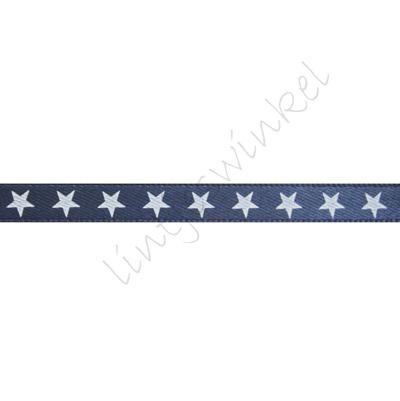 Satinband Sterne 6mm - Marine Weiß