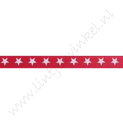 Satinband Sterne 6mm - Rot Weiß