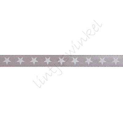 Satinband Sterne 6mm - Silber Weiß
