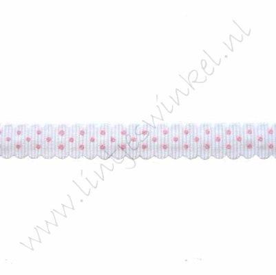 Ripsband Bogen 10mm - Punkte Weiß Rosa