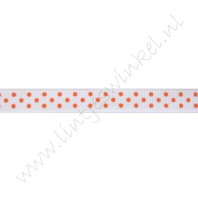 Ripsband Punkte 10mm - Weiß Orange