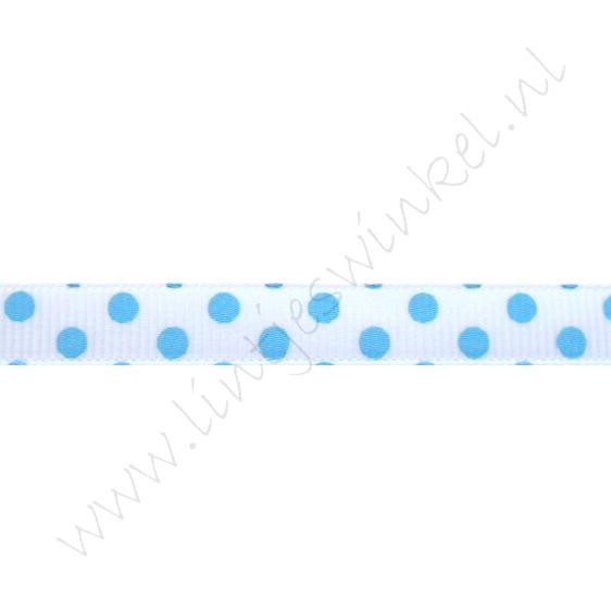 Ripsband Punkte 10mm - Doppelter Punkt Weiß Hell Blau