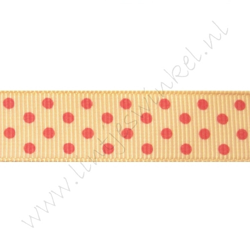 Ripsband Punkte 16mm - Pfirsich Pink