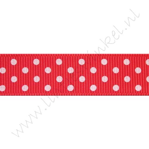 Ripsband Punkte 16mm - Rot Weiß