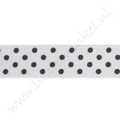 Ripsband Punkte 16mm - Weiß Schwarz