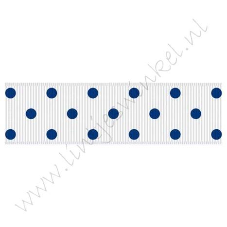 Ripsband Punkte 22mm - Weiß Blau