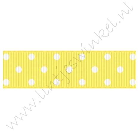Ripsband Punkte 22mm - Zitronen Gelb Weiß