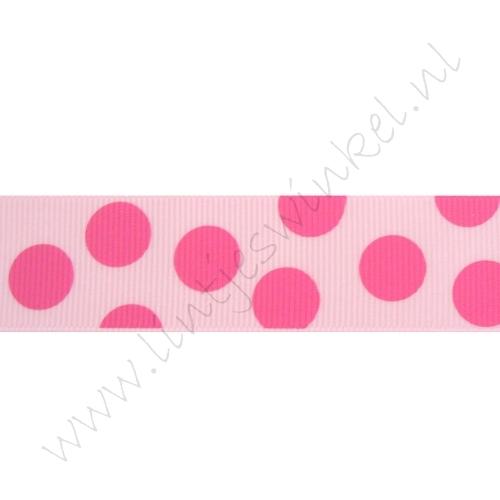 Ripsband Punkte Groß 25mm - Rosa Pink