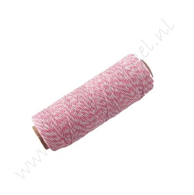 Bakers Twine (Baumwollkordel) 1mm - Rosa Weiß