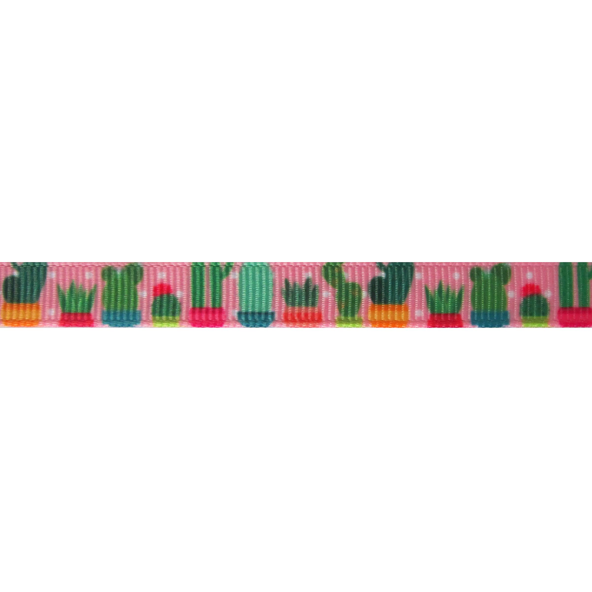 Ripsband Aufdruck 10mm - Kaktus Rosa Punkte