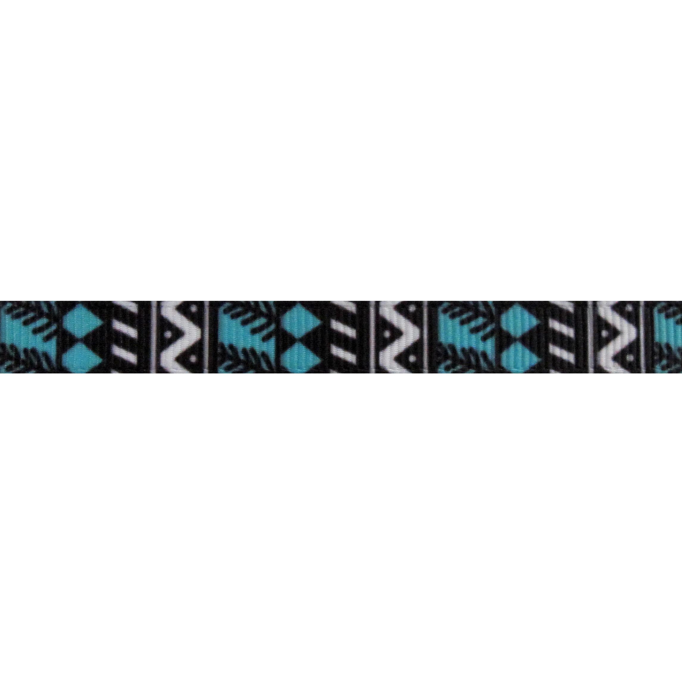 Ripsband Aufdruck 10mm - Azteken Tribal Motiv Schwarz Weiß Türkis