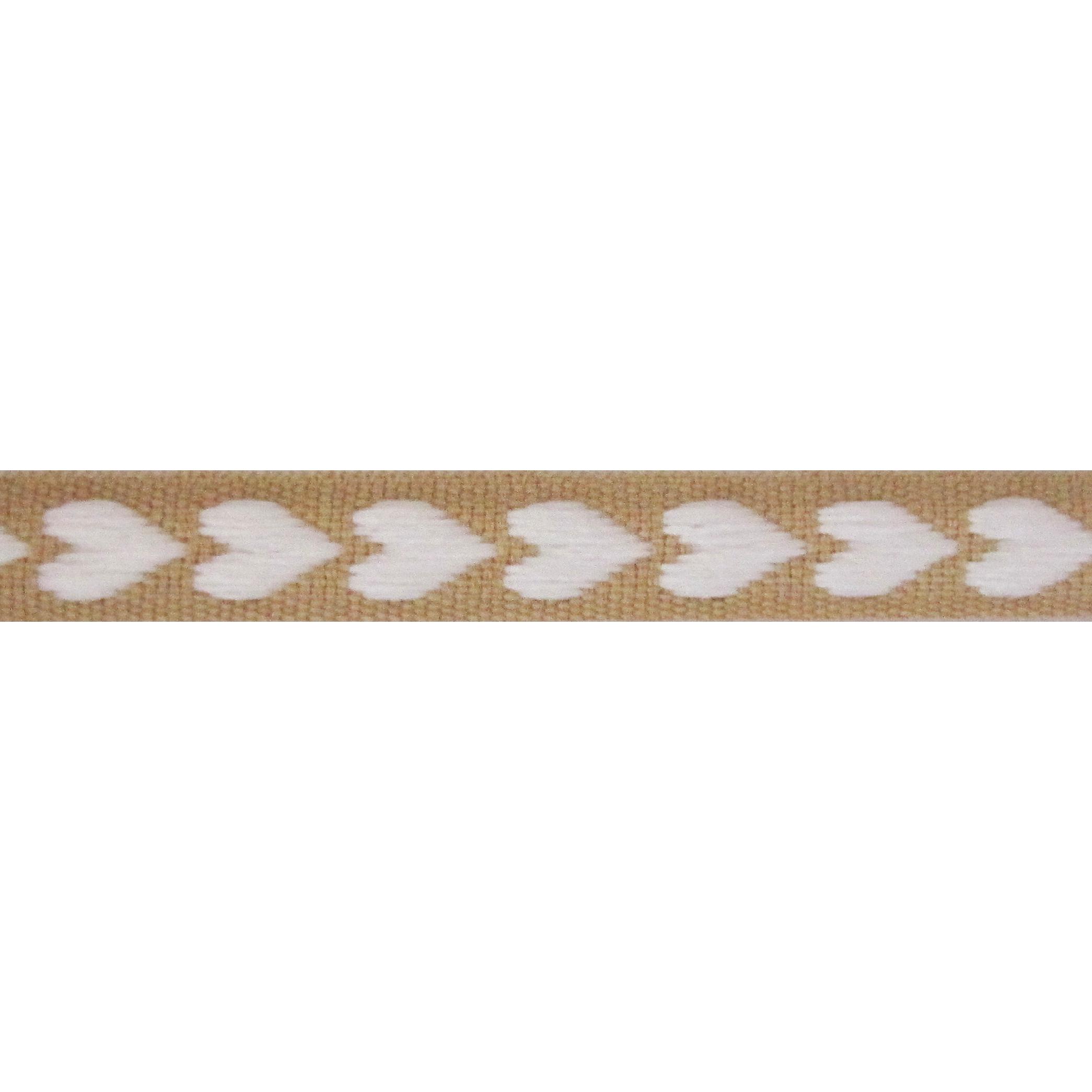 Ripsband Herzen 10mm - Webband Beige Weiß