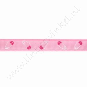 Baby Ripsband 10mm (Rolle 22 Meter) - Sicherheitsnadel Rosa