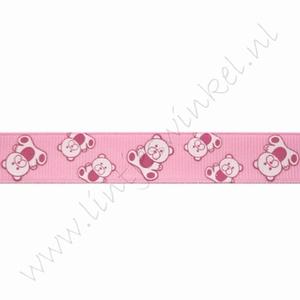 Baby Ripsband 16mm (Rolle 22 Meter) - Bär Rosa