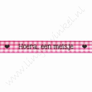 Baby Band 10mm (Rolle 22 Meter) - Hoera, een Meisje Fuchsia