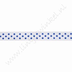 Ripsband Punkte 10mm (Rolle 22 Meter) - Weiß Dunkel Blau
