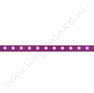 Satinband Punkte 3mm (Rolle 22 Meter) - Violett Weiß