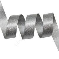 Metallic Satinband 22mm - Silber Grau Silber (012)