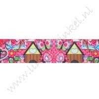 Ripsband Aufdruck 25mm - Lovely Pink House