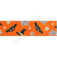 Ripsband Herbst Halloween 25mm - Fledermaus Orange Schwarz