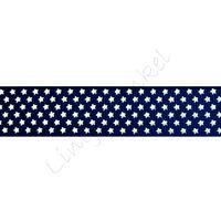 Ripsband Sterne 22mm - Klein Schwarz Gold