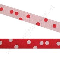 Jacquard Webband 10mm - 2seitig Punkte Rot Weiß