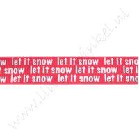 Ripsband Weihnachten 16mm - Let it Snow Rot