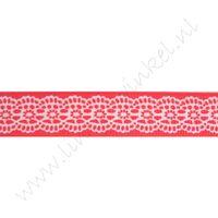 Ripsband Aufdruck 16mm - Spitzenkante Rot