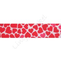 Ripsband Herzen 22mm - Mix Weiß Rot Pink