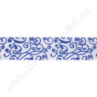 Ripsband Aufdruck 22mm - Porzellan Weiß Blau