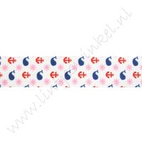 Ripsband Aufdruck 22mm - Wal Anker Marine Rot Rosa