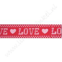 Ripsband Herzen 25mm - Love Rot