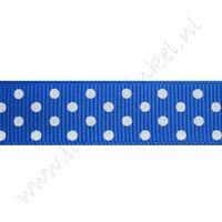 Ripsband Punkte 16mm - Dunkel Blau Weiß