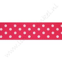 Ripsband Punkte 16mm - Shocking Pink Weiß