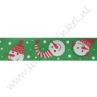 Ripsband Weihnachten 25mm - Schneemann Grün