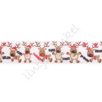 Ripsband Weihnachten 25mm - Rentiere Namen Weiß Rot