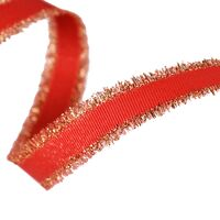 Franzenband Glanzrand 16mm - Ripsband Rot Gold (250)