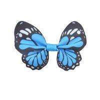 Schmetterling 65x50mm - Ripsband Aqua Schwarz Weiß