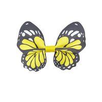 Schmetterling 65x50mm - Ripsband Gelb Schwarz Weiß