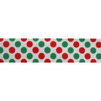 Ripsband Punkte Groß Mix 22mm - Weiß Rot Grün