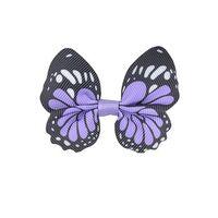 Schmetterling 65x50mm - Ripsband Lavendel Schwarz Weiß