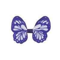 Vlinder 65x50mm - Grosgrain Donker Blauw Wit