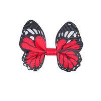 Schmetterling 65x50mm - Ripsband Rot Schwarz Weiß